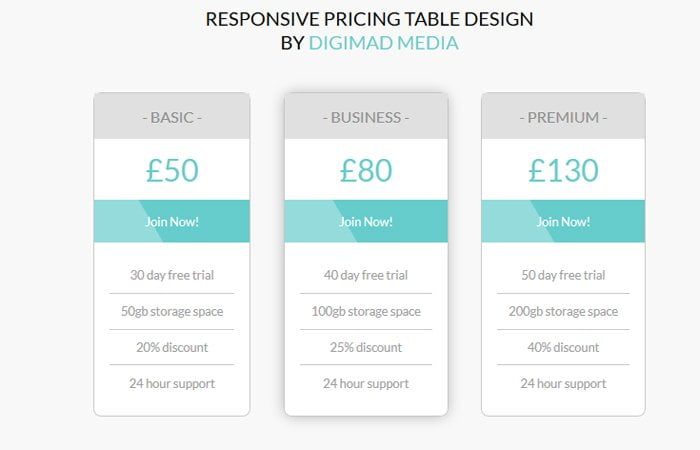 Responsive Pricing Table Design