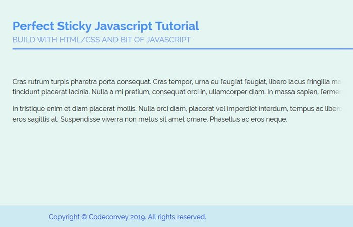 Make Responsive Sticky Footer Using JavaScript