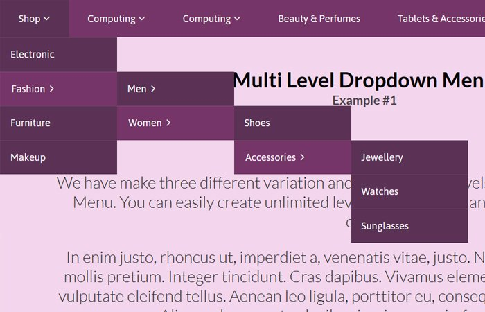 Advanced CSS Multi Level Dropdown Menu