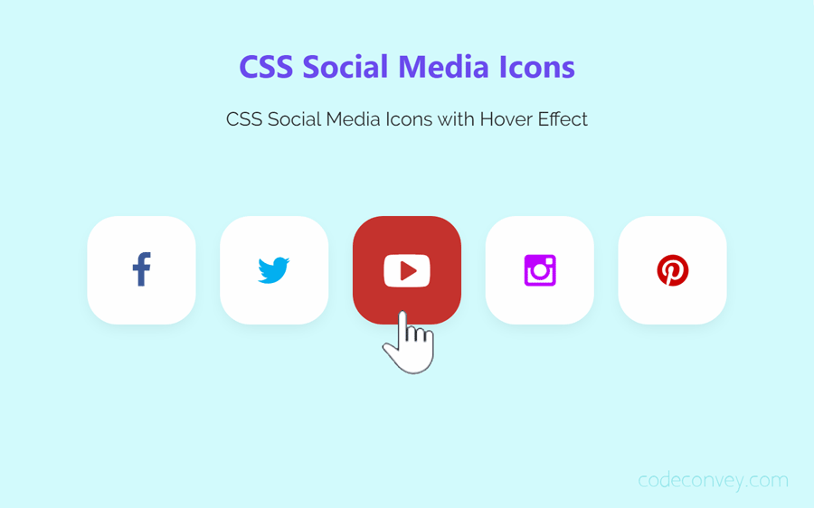CSS Social Media Icons with Hover Effect