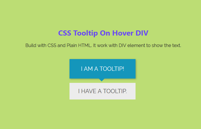 CSS Tooltip On Hover DIV HTML Element