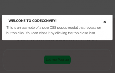 Reveal CSS Modal Popup on Button Click