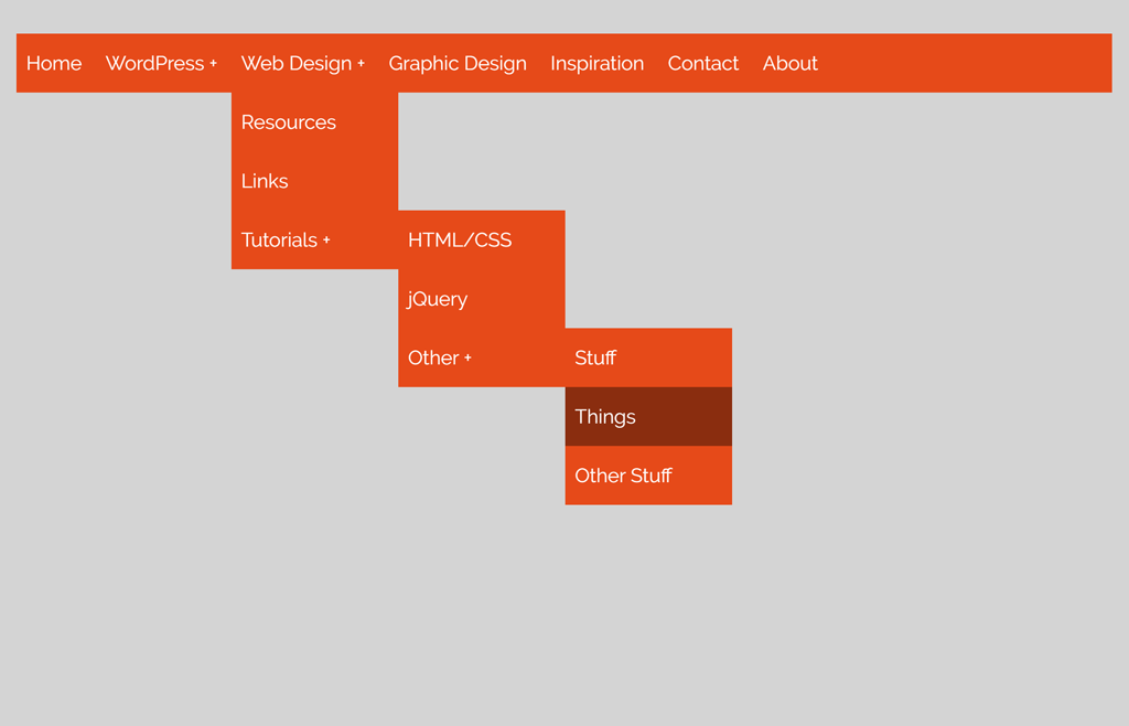 Drop Down Navigation Menu using HTML and CSS
