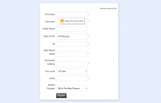 Student Registration Form in HTML with Validation