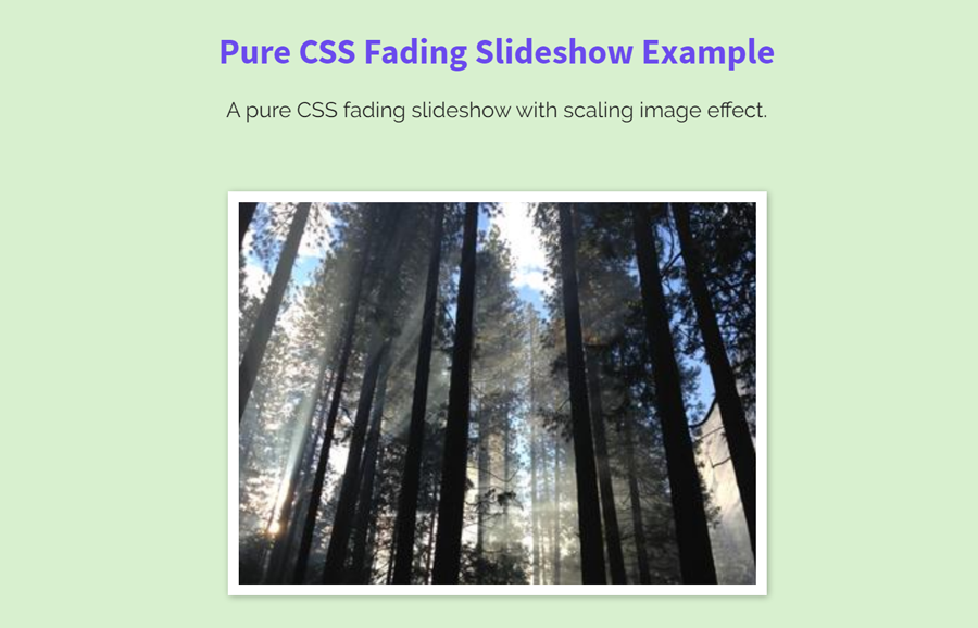 Pure CSS Fading Slideshow with Scaling Image