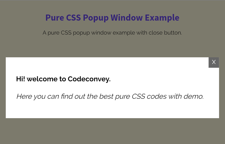 Pure CSS Popup Window with Close Button