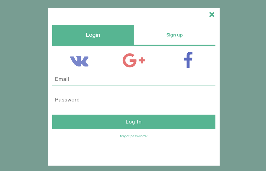 Login Form Popup in HTML and CSS