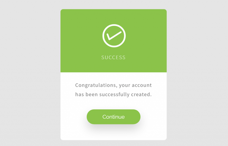 Registration Successful Message in HTML & CSS