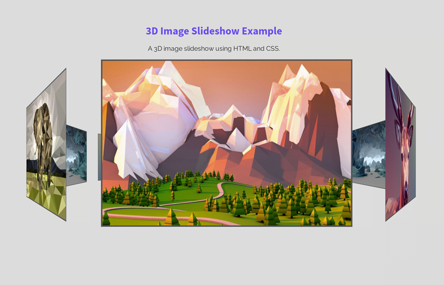 3D Images Slideshow using HTML and CSS