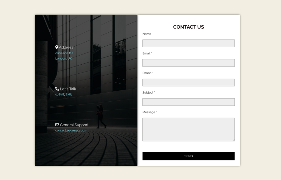Contact Us Page Design in HTML Code