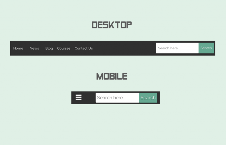 Responsive Navbar with Search Box using CSS