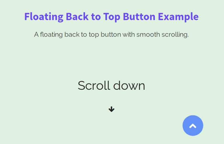 Floating Back to Top Button HTML & CSS
