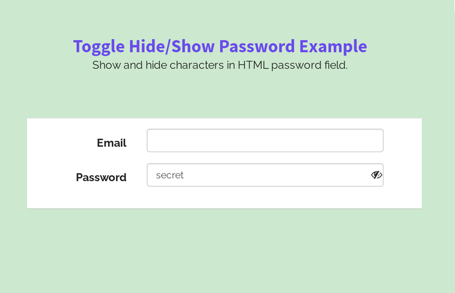 HTML Password Field Show Characters