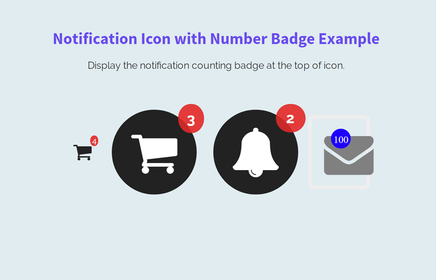 Notification Icon with Number Badge using CSS