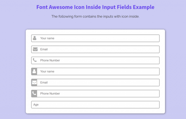Font Awesome Icon Inside Input Field