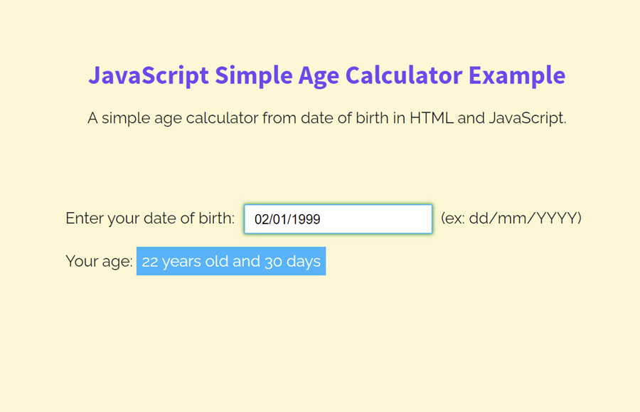Simple Age Calculator in HTML & JavaScript