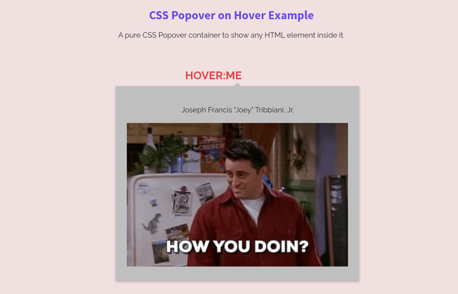 Pure CSS Popover on Hover with Arrow