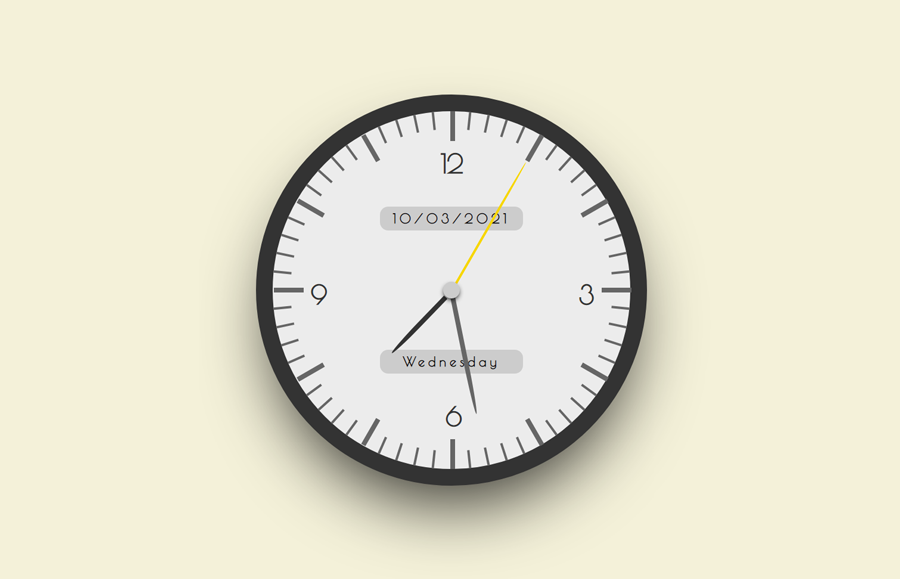 Analog Clock in CSS with Date and Time