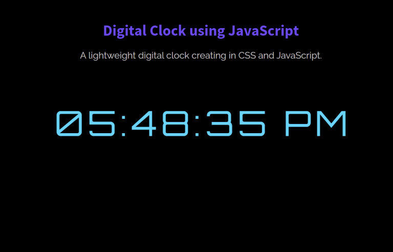 Design a Digital Clock using JavaScript