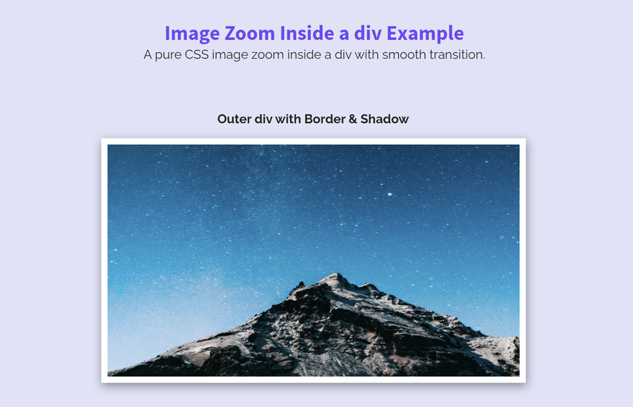 Pure CSS Image Zoom on Hover Inside a div