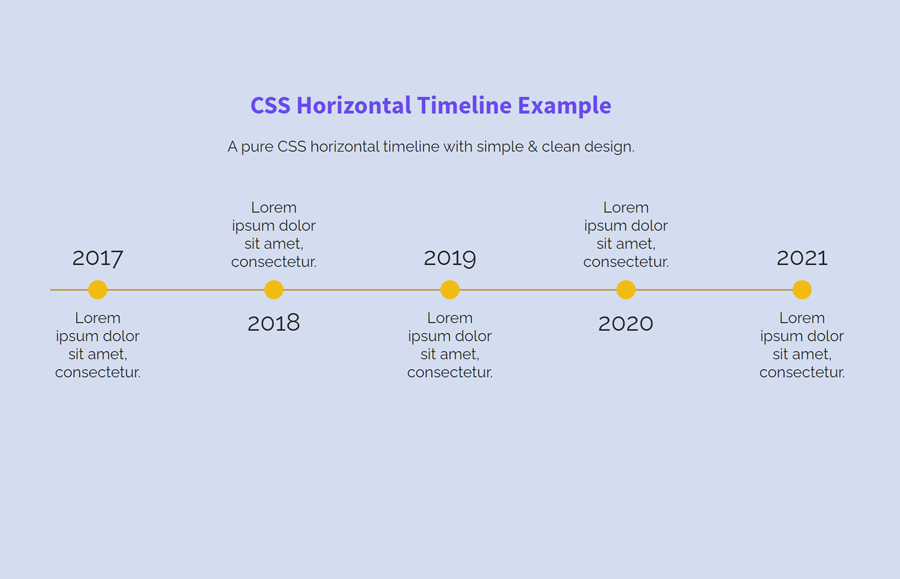 Simple Horizontal Timeline with Pure CSS