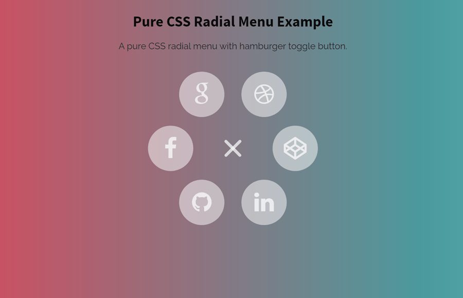 Pure CSS Radial Menu with Hamburger Icon