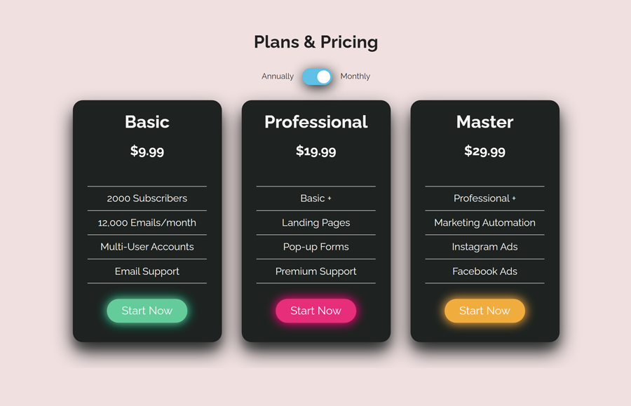 Pricing Table with CSS Switch Toggle