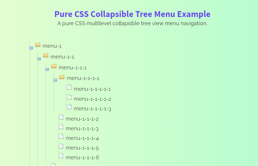 Pure CSS Collapsible Tree Menu with Icons