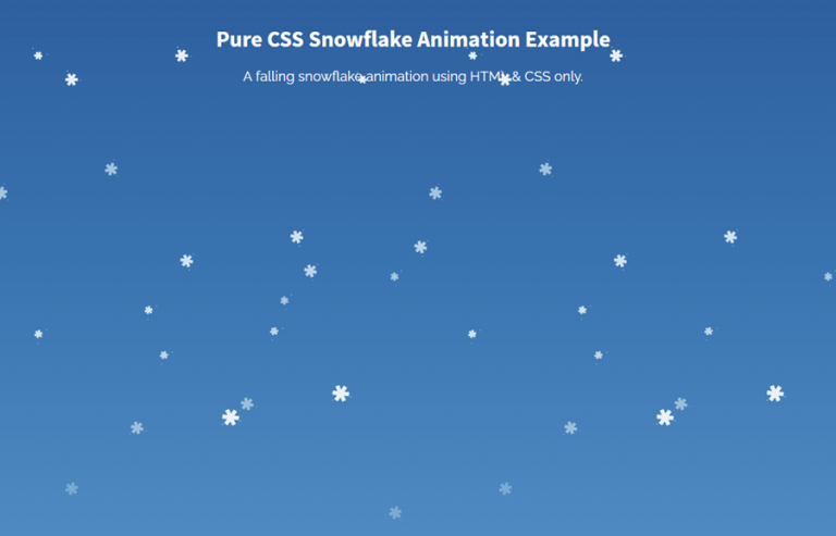 Pure CSS Falling Snowflake Animation