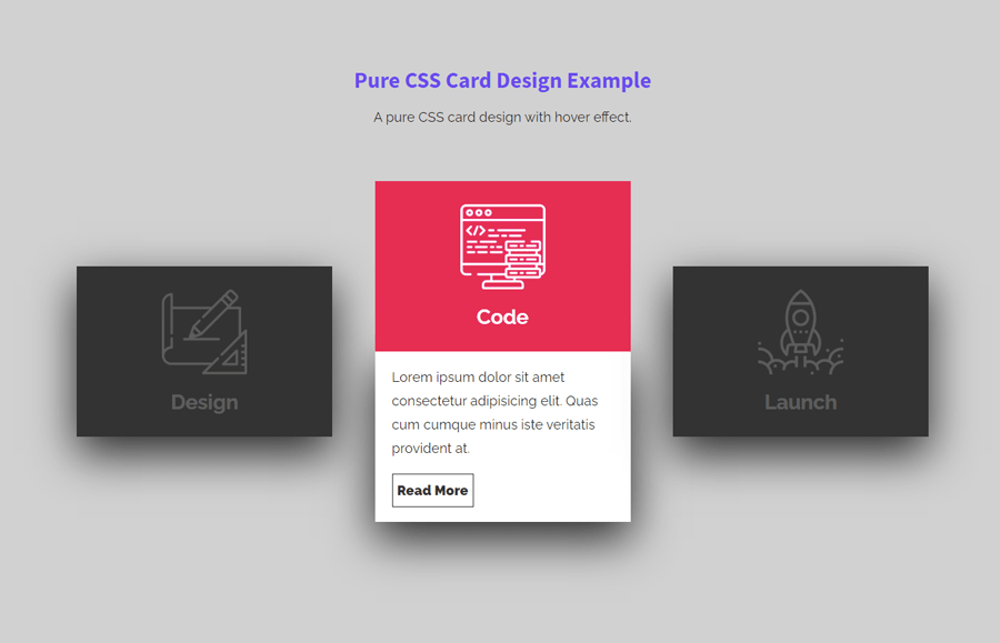 Pure CSS Card Design with Hover Effect